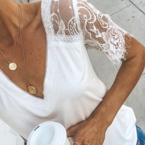 💫Coming Soon💫 White Lace Eyelash Hem Sleeved Tee